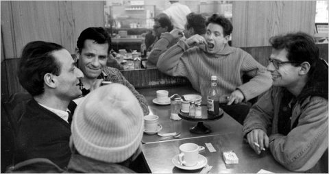 Clockwise from bottom left: Gregory Corso (in cap), the painter Larry Rivers, Jack Kerouac, David Amram (musician), and Allen Ginsberg.